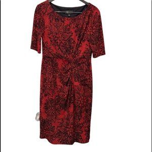Black and Red Print Dress with Gathered Waist